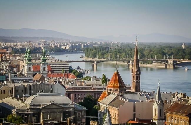 Panoramic views of Budapest from Buda