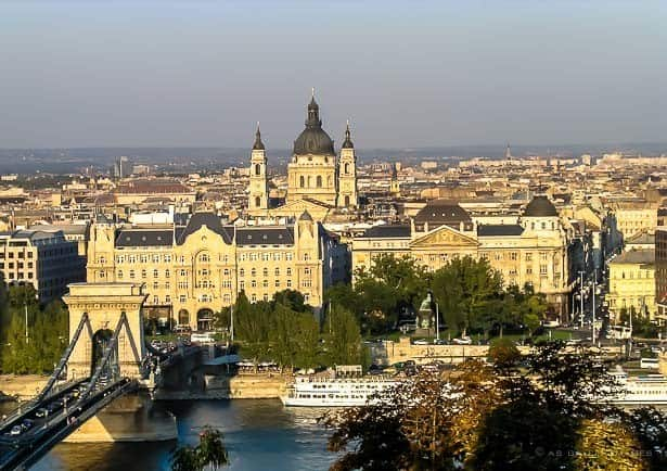 view of scent istvan basilica rising above all the other buildings in budapest