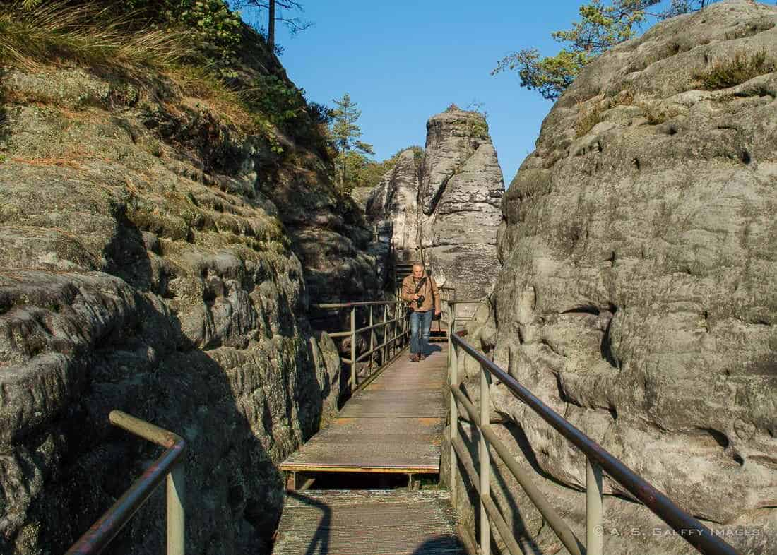 Wooden path built in the rock