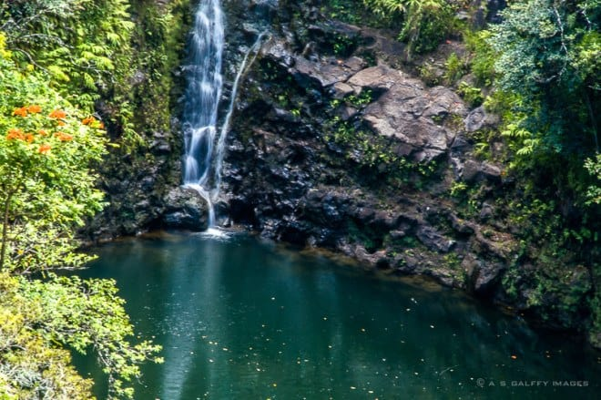 Image depicting a waterfall, one of the top 10 reasons to fall in love with Maui