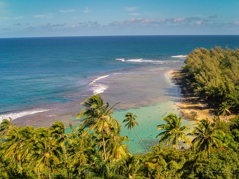 view of Kee Beach from hiking Kalalau Trail