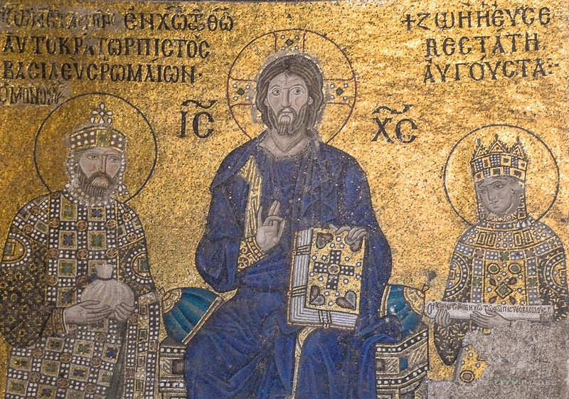 Mosaic representing Christ and Emperor Constantine IX Monomachos and Empress Zoe