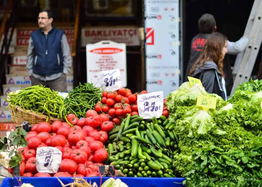 Fresh produce in an open market in Istanbul