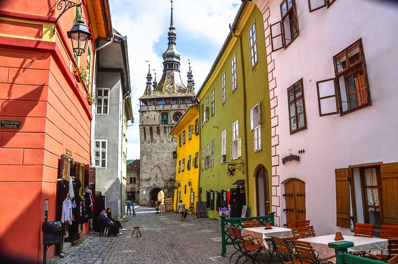 view of a cobbled street in Sighisoara