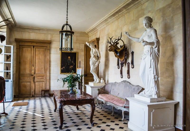 the entrance hall of the chateau