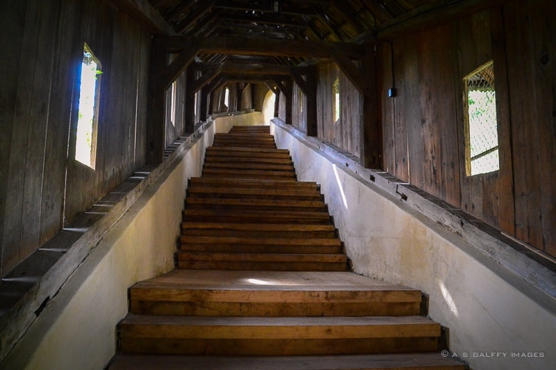 Covered staircase leading to the fortress.