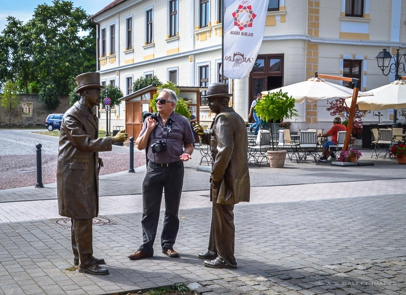 Life-size statues on the streets of the Citadel of Alba Iulia