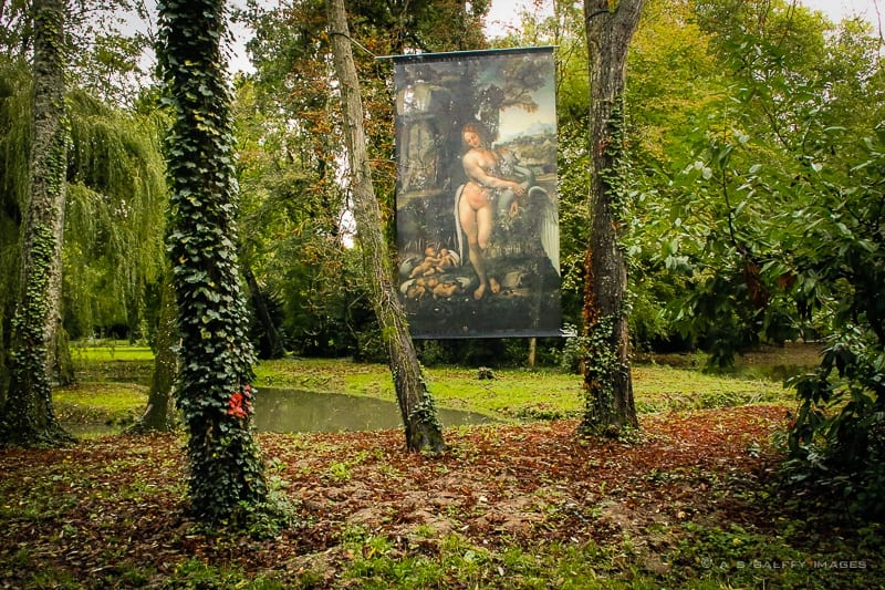 Translucent panel with Da Vinci painting at Chateau Clos Luce