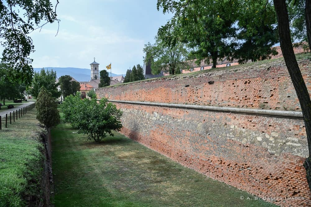 Moat around the walls of the Citadel of Alba Iulia