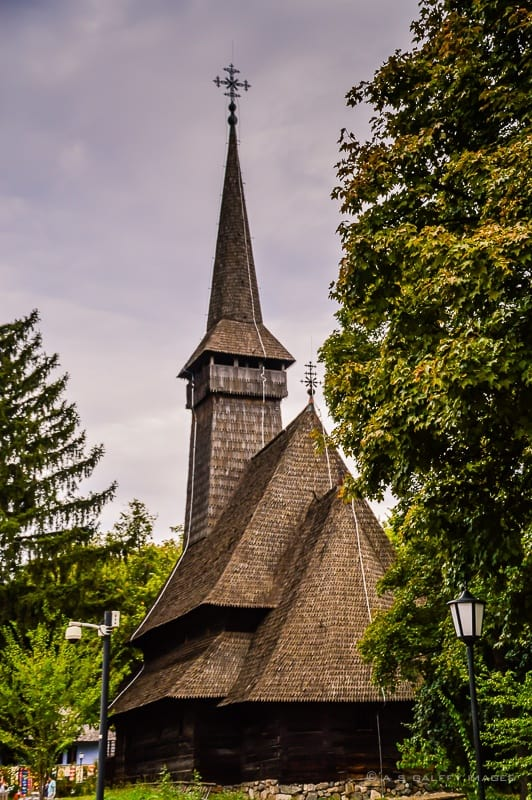 Wooden church in Bucharest village museum