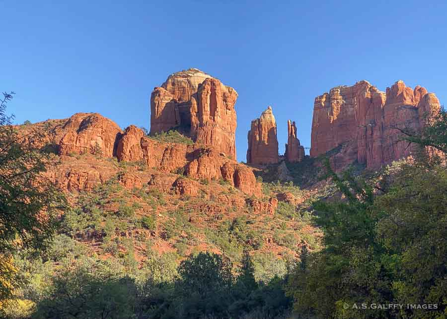 View of the Cathedral Rock from the Red Rock Crossing trail in Sedona