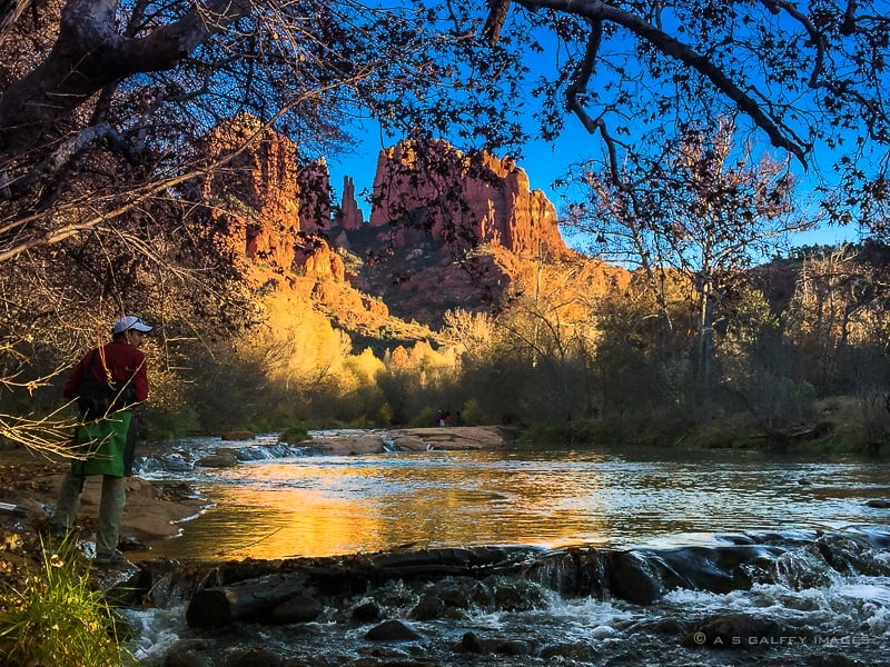 View of the Cathedral Rock in Sedona from the Red Rock Crossing