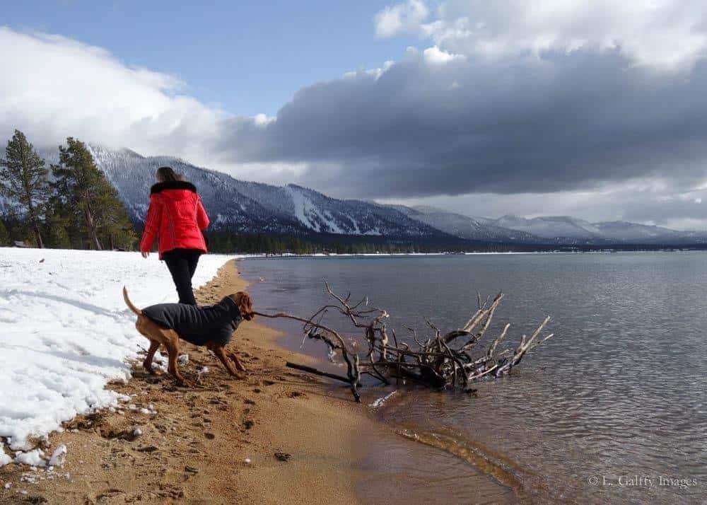 Walking around the lake in Lake Tahoe
