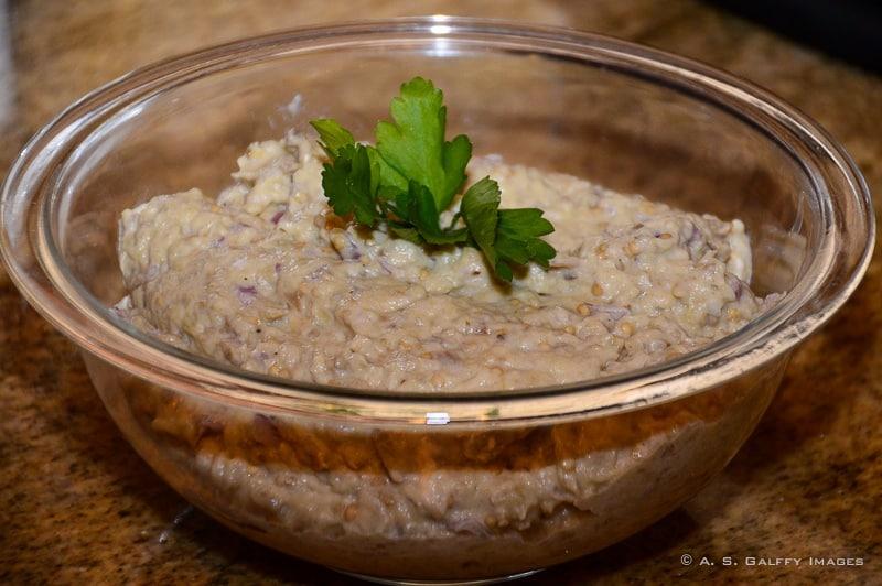 Eggplant salad, a traditional Romanian dish