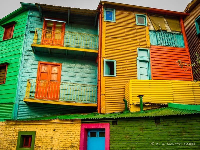 Houses built of scrap metal in La Boca