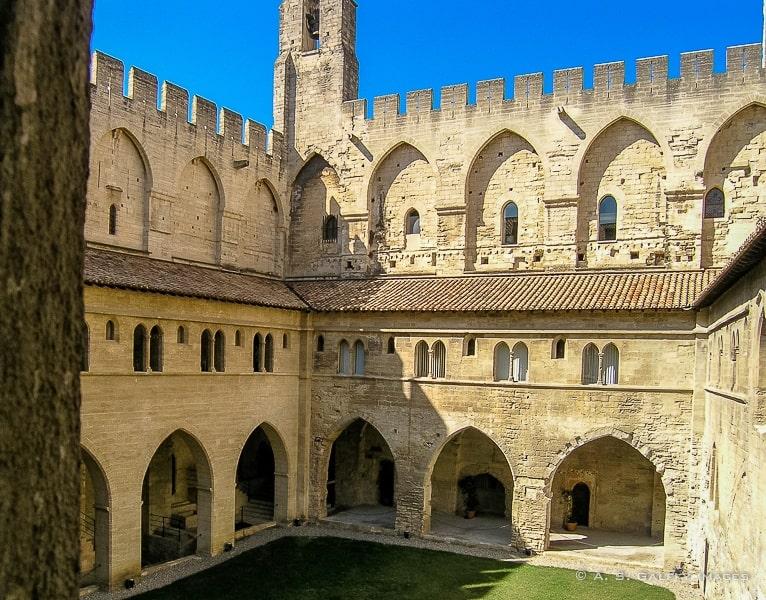 Interior courtyard at Palais des Papes in Avignon