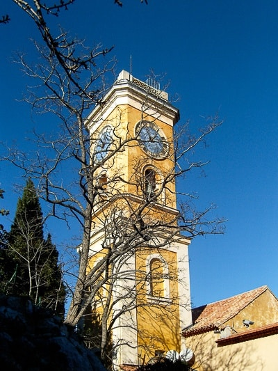 church bell tower of the Catholic Church in Eze Village