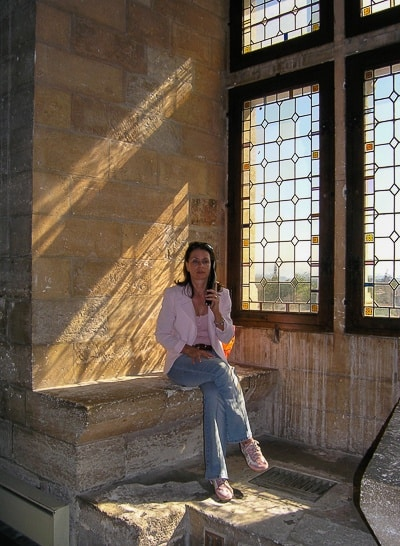 Listening to the audioguide in the Palais des Papes