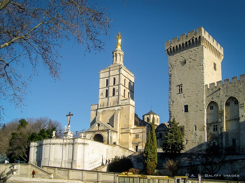 View of the Avignon Cathedral next to the Palace of the Popes