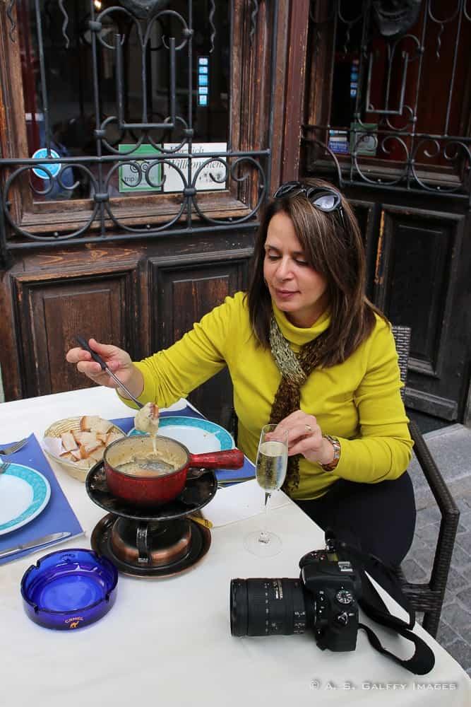 eating fondue in Lucerne