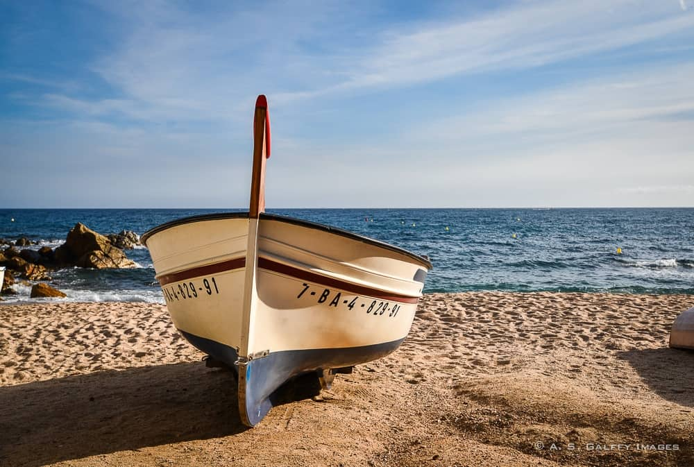 Fishing boat on Tossa de Mar beach