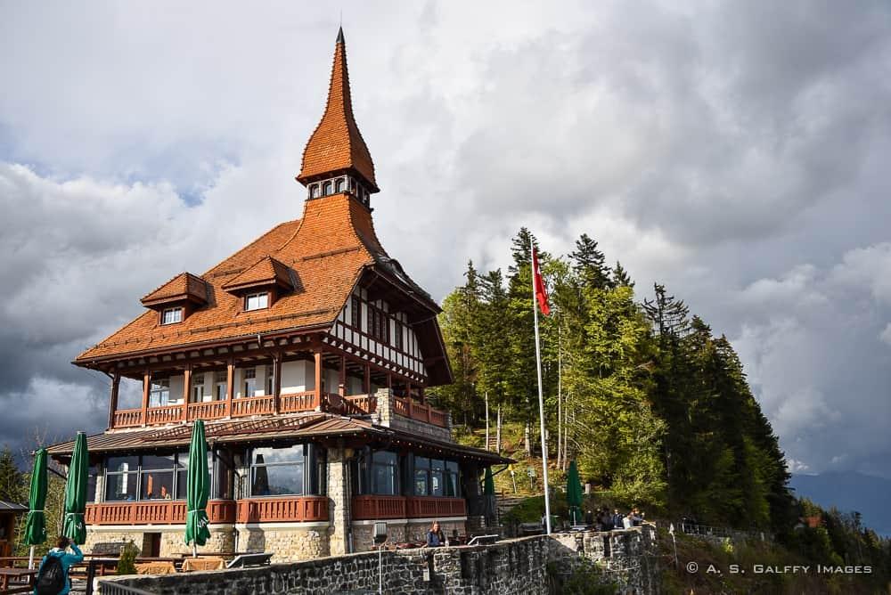 Restaurant building atop Harder Kulm in Interlaken