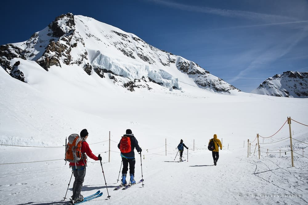 skiers on the Jungfraujoch, the top of Europe