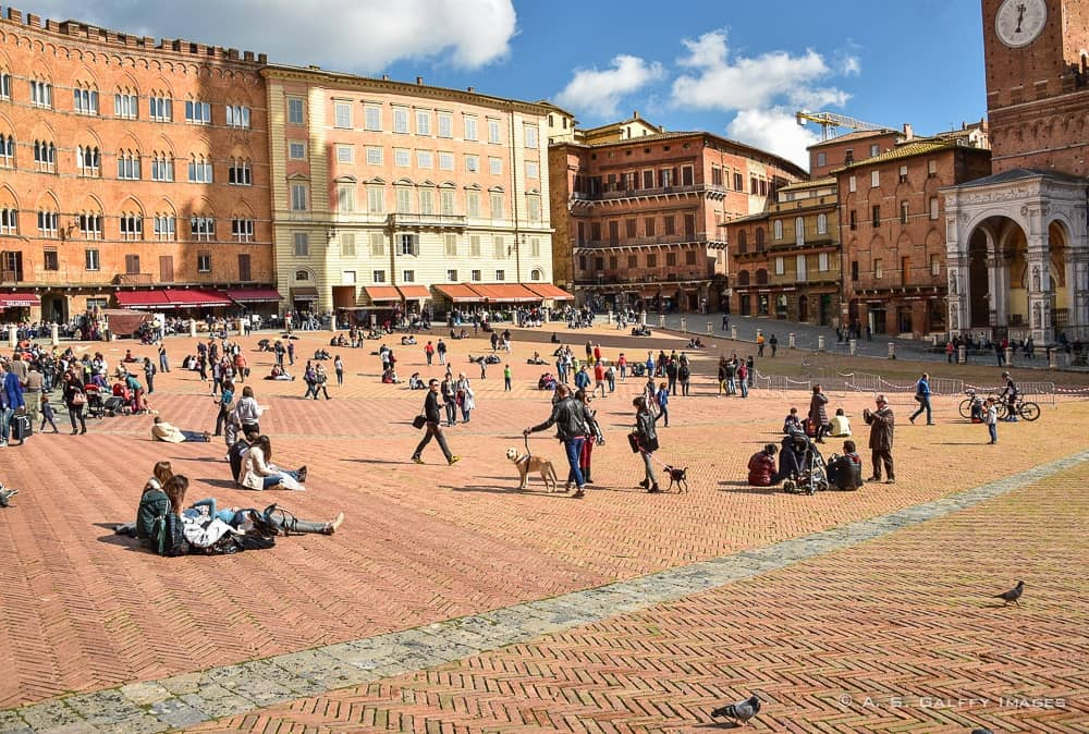 visiting piazza del Campo in Siena on a day trip from Florence