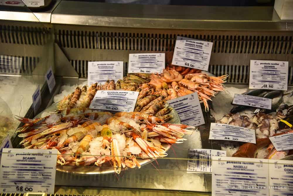 Seafood displayed in a window