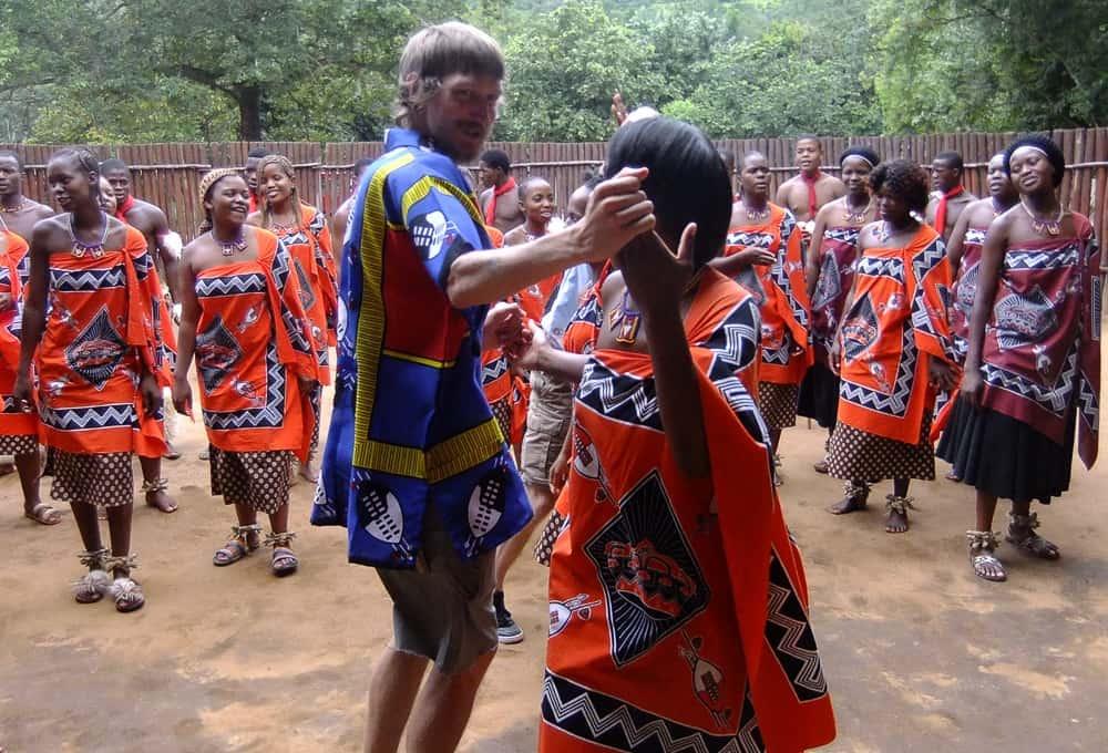 Jonny Blair doing the Sibhaca dance in Mantenga - Swaziland-2