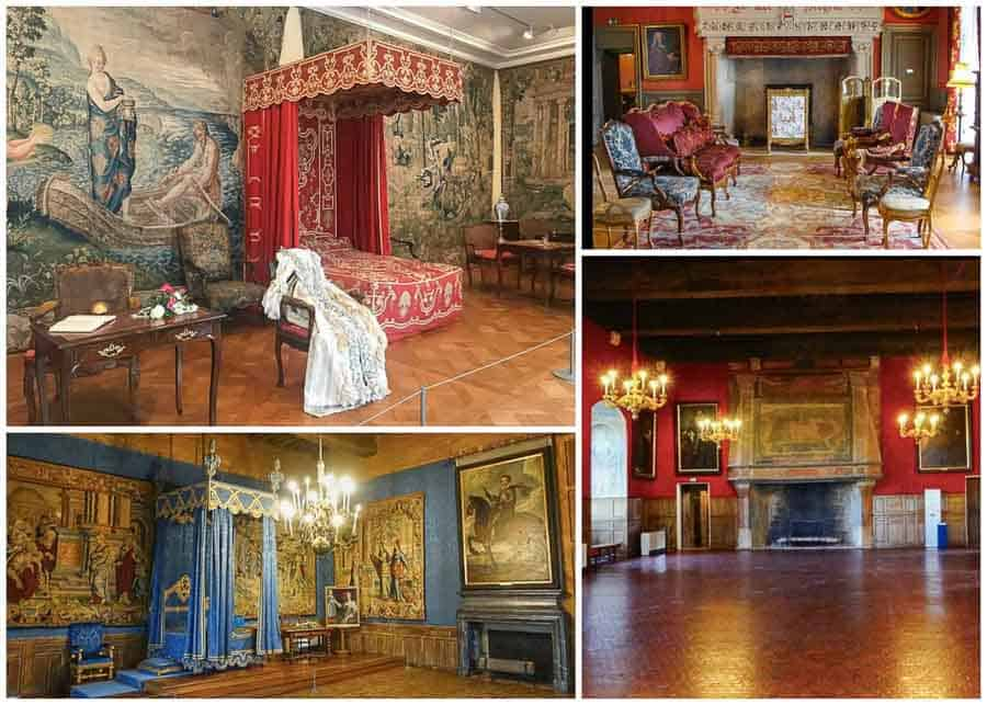 Various rooms at the chateau