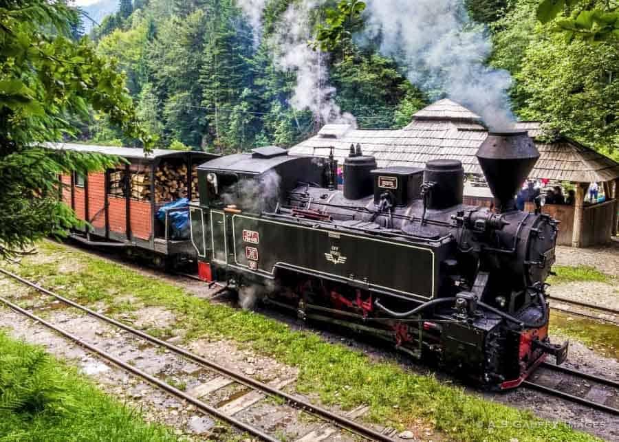 Mocanita, the steam engine locomotive in Visual de Sus, Romania