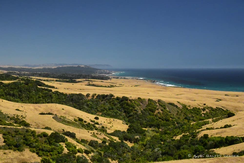 view of the San Simeon beach from the Hearst Castle