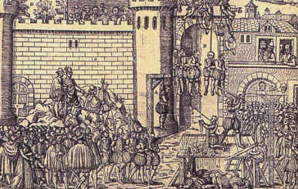 Woodcut representing the executions at at Amboise during the Wars of Religion