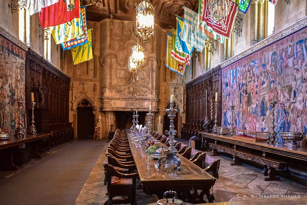 the dining room of the Hearst Castle