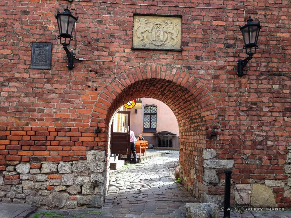 Original city wall in Old Town Riga