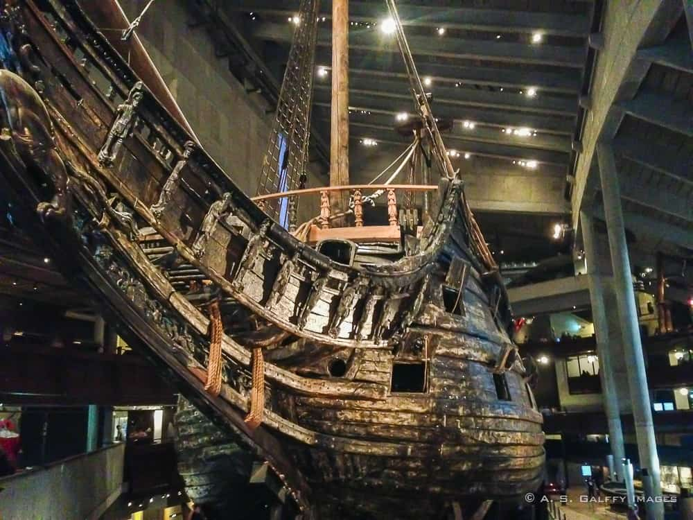 The Vasa Ship displayed in the museum