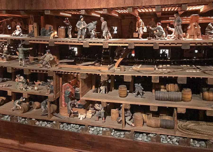 The original interior layout of the Vasa Ship