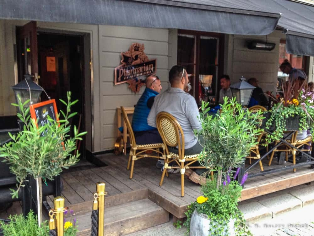 Patio dining at Pharmarium Restaurant In Stockholm