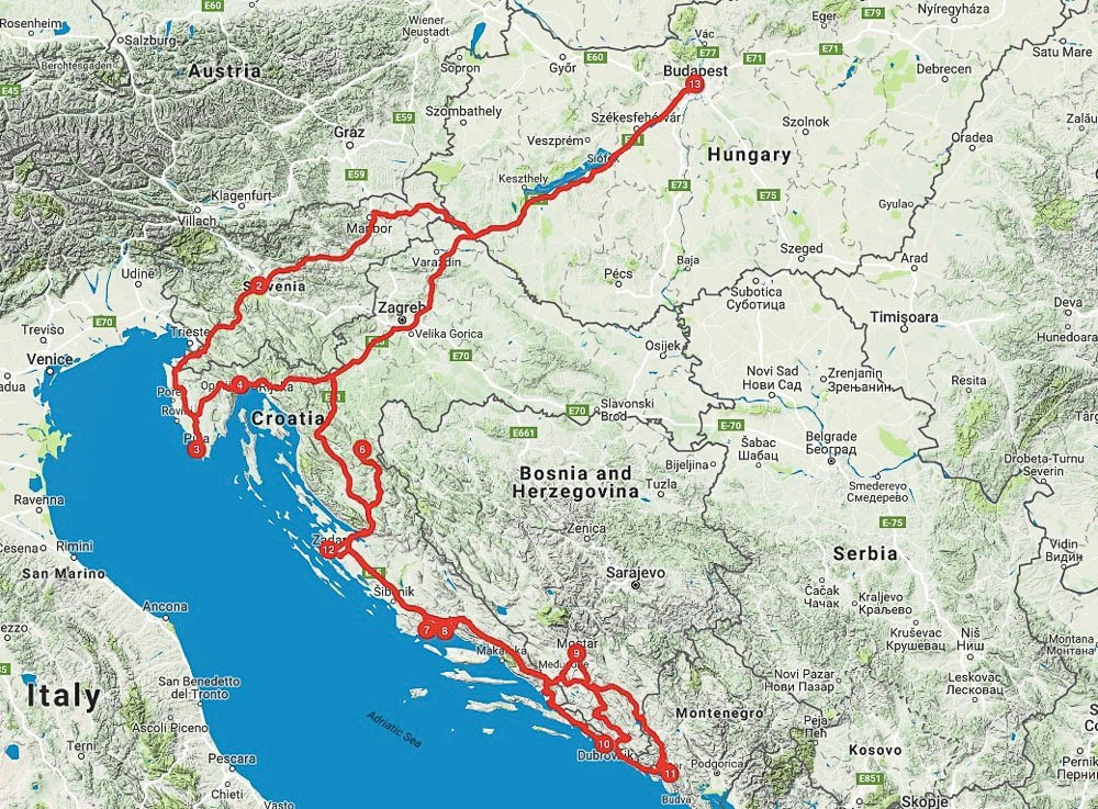 view of the map showing the Balkan Road Trip itinerary