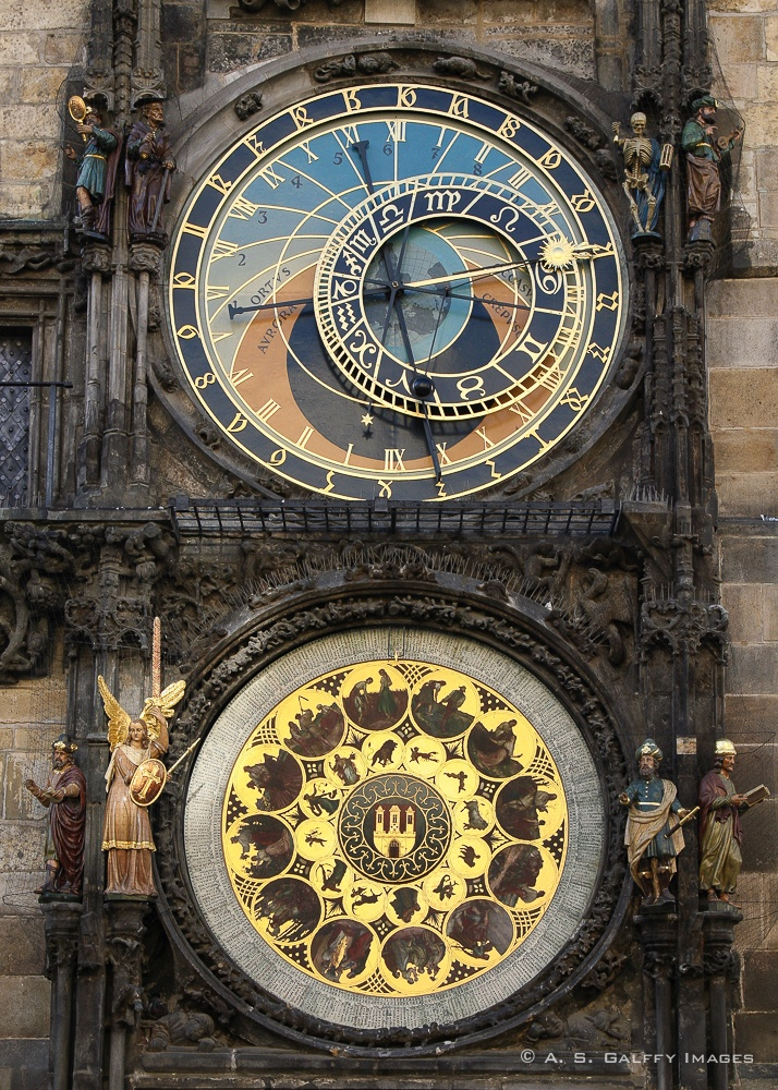 caption of the Astronomical Clock in Old Town Square, Prague
