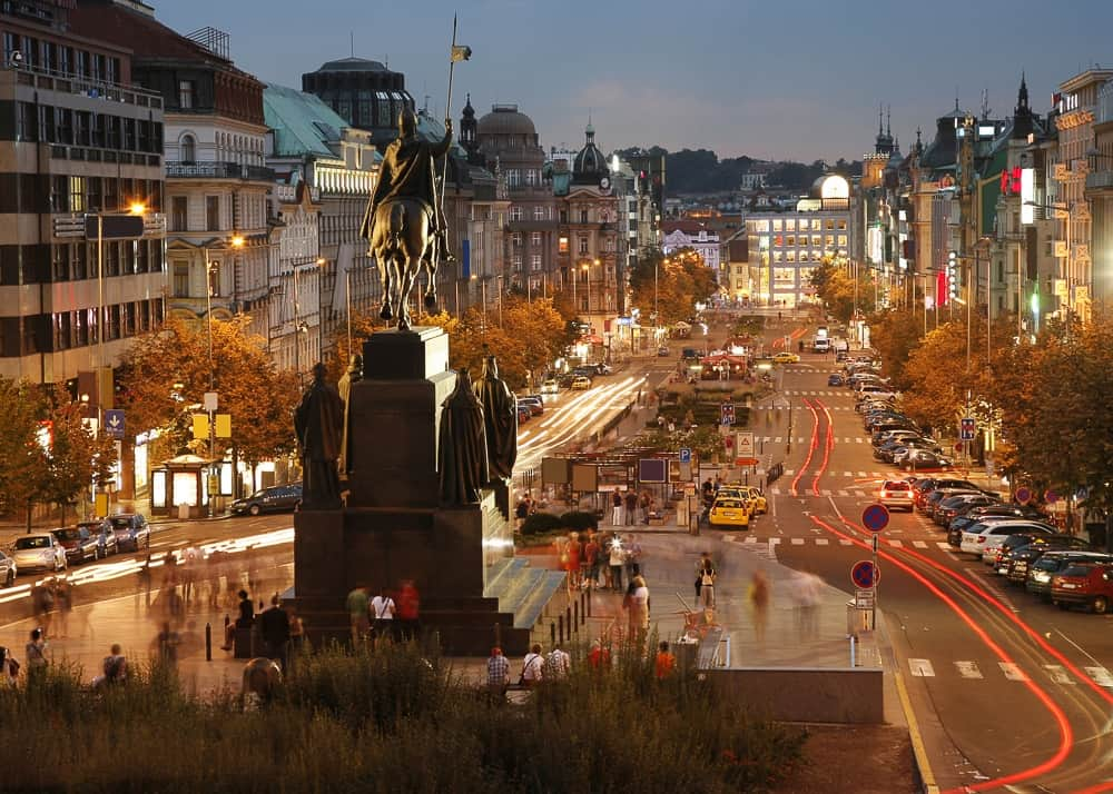 caption of wenceslas square in prague