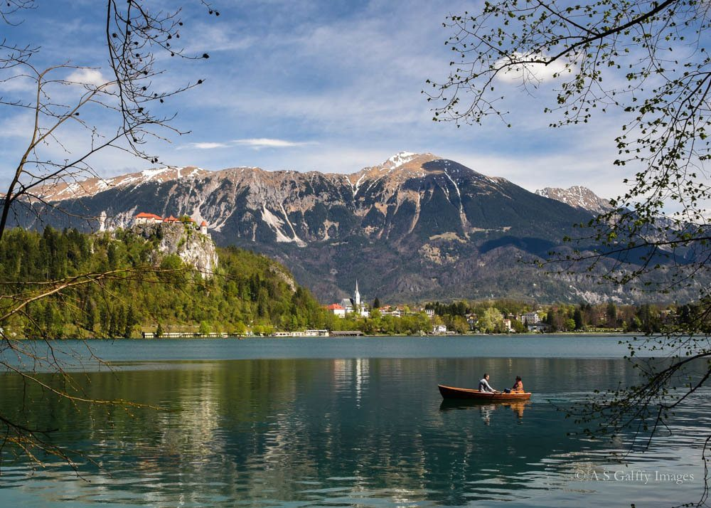 Rowing boat on Lake Bled