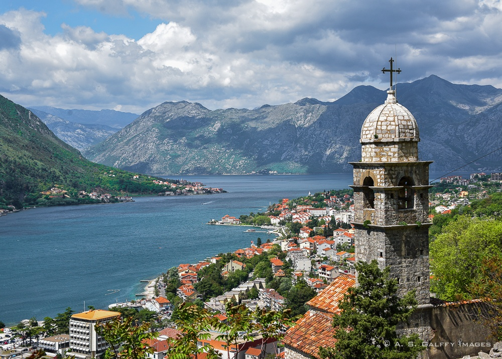 Image depicting the blue gorgeous view of the Bay of Kotor from Kotor Fortress