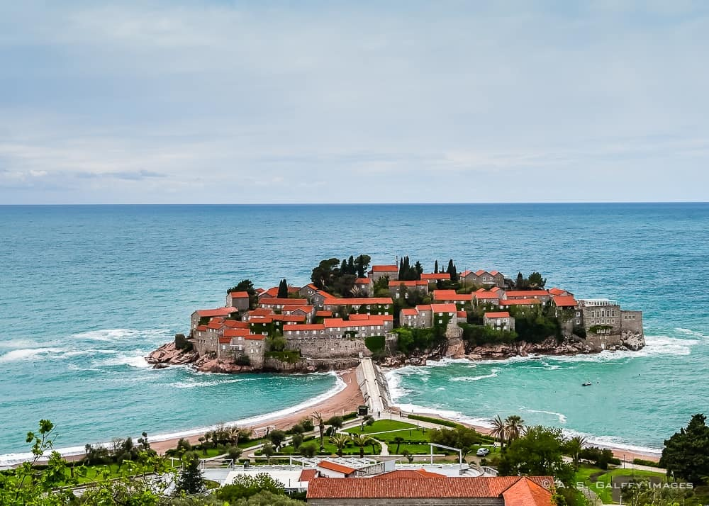 View of the walled islet of Sveti Stefan on of the Montenegro tourist attractions
