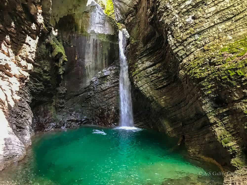 Travel to the Balkans: Kozjak waterfall in Kobarid