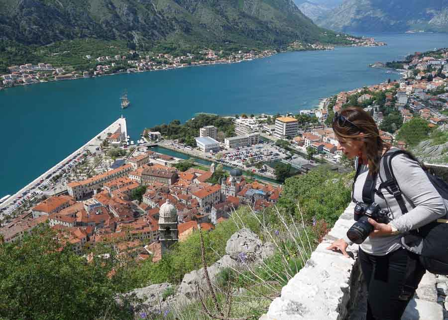Looking down over the Bay of Kotor in Montenegro