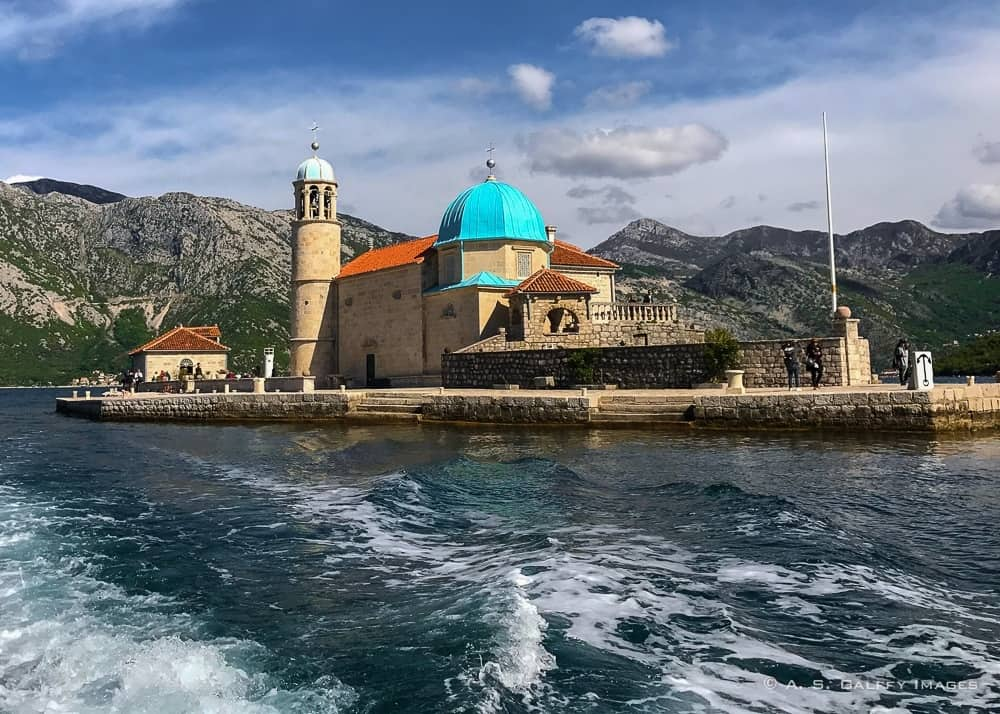 View of the Our Lady of the Rocks Church, one of Montenegro tourist attractions