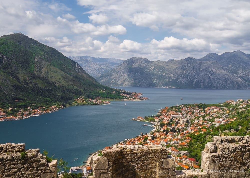 View of the Bay of Kotor on the Montenegro coast
