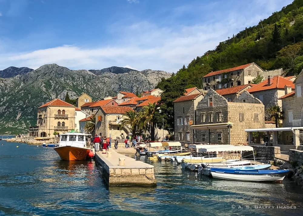 View of Perast, a coastal town on the Montenegro coast